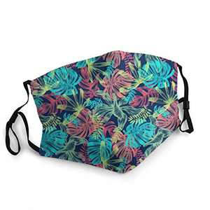 Colorful Flower Unisex Face Balaclava Bandana Face Cover Windproof Reusable cloth Adjustable Mask Elastic Strap with 2 Filters Made In USA