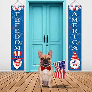 Blaward 4th of July Decor - Gnome Patriotic Decorations for Independence Day - Welcome and Let Freedom Ring Hanging American Flags Bunting Banners Door Porch Sign - Fourth of July Party (2 Pcs)