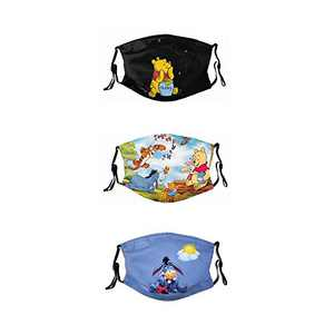 Reusable masks for kids women cool funny Fashion cute washable breathable Bandanas made in usa 3 Packs with 6 filter Win-nie The Po-oh