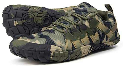 Trail Running Shoes Women Wide Casual Gym Toes Five Finger Ladies Lightweight Workout Hiking Minimalist Barefoot Parkour Sneakers Green Camouflage US Size 6