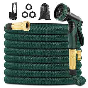 """Yeenuo Expandable Garden Hose 50ft with 10 Function Nozzle- 3/4"""" Solid Brass Fittings -Strong Hose Fabric and 4-Layers Latex Core hose -Easy Storage No Kink Flexible Water Hose-Lightweight Hose Pipe"""