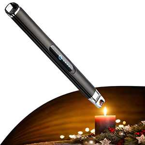 Candle Lighter,Electric Lighter with Battery Display and Safety Switch,Rechargeable Lighter for USB Lighter,arc Lighter Aluminum Case & Hanging Electric Candle Lighter,for Cooking,BBQs(Black)