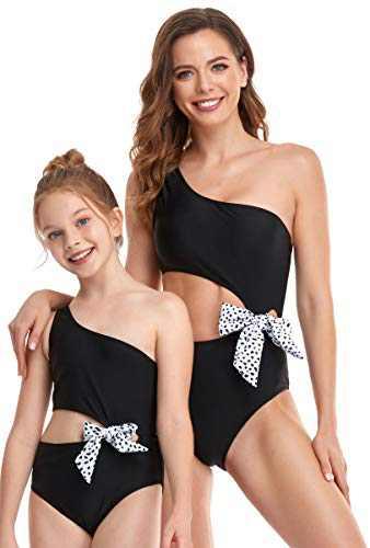 Mommy and Me Matching Family Swimsuit Kids Children Toddler Bikini Bathing Suit Beachwear Sets Women one Piece High Waisted Bikini Bow Cute Beach Swimwear