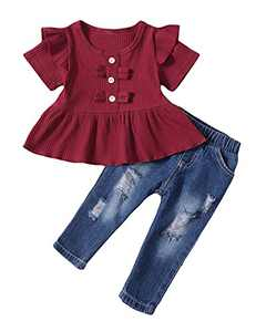 Toddler Girl Clothes Short Sleeve Toddler Girl Outfit with Ripped Jeans (Wine Red,2-3 T)