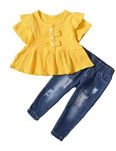Baby Girl Outfit Fall Short Sleeve Baby Girl T Shirt with Ripped Jeans (Yellow,12-18 Months)