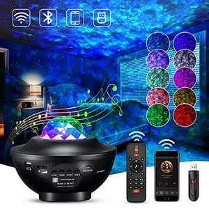 Star Night Light Projector with LED Galaxy Ocean Wave Nebula Starlight Projector with Bluetooth Music Speaker,Timer for Baby Bedroom,Game Room,Party,Birthday,Night Light Ambiance,Decoration…