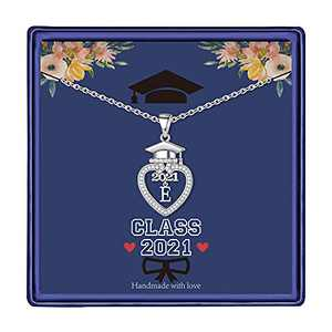 Graduation Gifts Class of 2021 Initial Necklace, 14K White Gold Plated Initial Necklace with CZ Heart Pendant Necklace College Graduation Friendship Gifts for Her Class of 2021 High School Gifts(E)