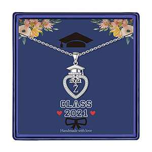 Graduation Gifts Class of 2021 Initial Necklace, 14K White Gold Plated Initial Necklace with CZ Heart Pendant Necklace College Graduation Friendship Gifts for Her Class of 2021 High School Gifts(Z)