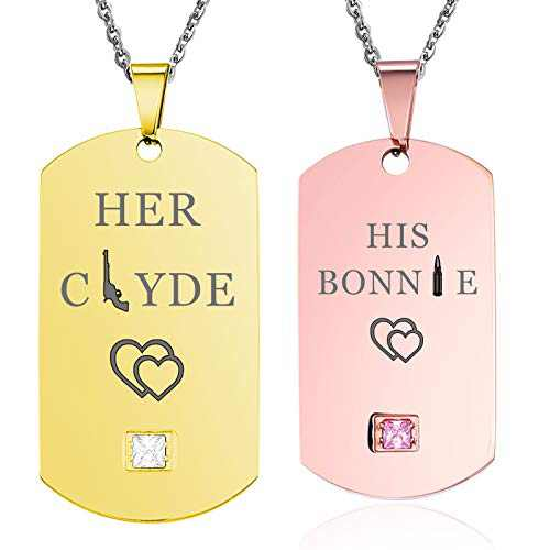 NEHZUS Mens Womens Stainless Steel Necklace Pendant Tag Jewelry Gift for Couple Personalized Name Matching Necklaces Set for Him and Her