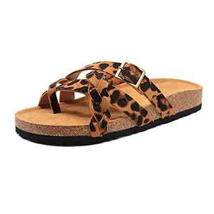 Leopard Leather Cork Footbed Sandals Cute Toe Ring Slip On Flat Slides with Adjustable Buckle For Women Casual Summer Dressy Walking Beach Black Size 5
