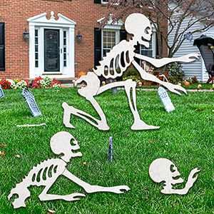 """DR.DUDU Halloween Decorations 25"""" x 23"""" Skeleton Yard Sign Garden Stake, Set of 3 Metal Spooky Skull Decorative Outdoor Statues Lawn Décor"""