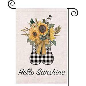 LARMOY Hello Sunshine Summer Garden Flags for Outside,12×18 Inch Double Sided,Buffalo Plaid Shoes with Watercolor Sunflower,Small Yard Flags for Outdoor Decor,Seasonal Decorative Banner for Farmhouse
