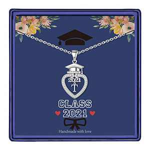 Graduation Gifts Class of 2021 Initial Necklace, 14K White Gold Plated Initial Necklace with CZ Heart Pendant Necklace College Graduation Friendship Gifts for Her Class of 2021 High School Gifts(T)