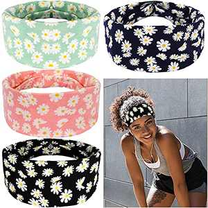 AiPretty Headbands for Women,Girls Fashion Hair Accessories, 4 PCS Yoga Running Sports Workout Head Wrap, Tie DyeBohemia Style Daisy Elastic Non-Slip Sweat Hair Bands.