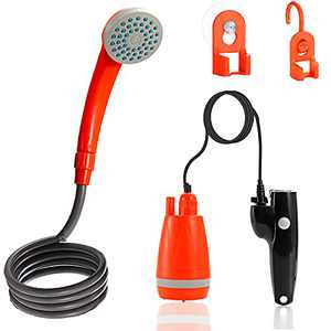 Outdoor Camping Shower, Portable Shower Pump Powered by USB Rechargeable Battery, Handheld Camping Shower Head w/ 6.6FT Hose for Camping, Hiking, Pet Showering, Plant Watering, Caring Washing etc