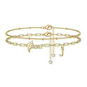 Yoosteel 2021 Graduation Gifts Ankle Bracelets, Layering Beaded Anklets for Women Inspirational Ankle Bracelets College Graduation Gifts for Her Him Layered Gold Initial Anklets for Women