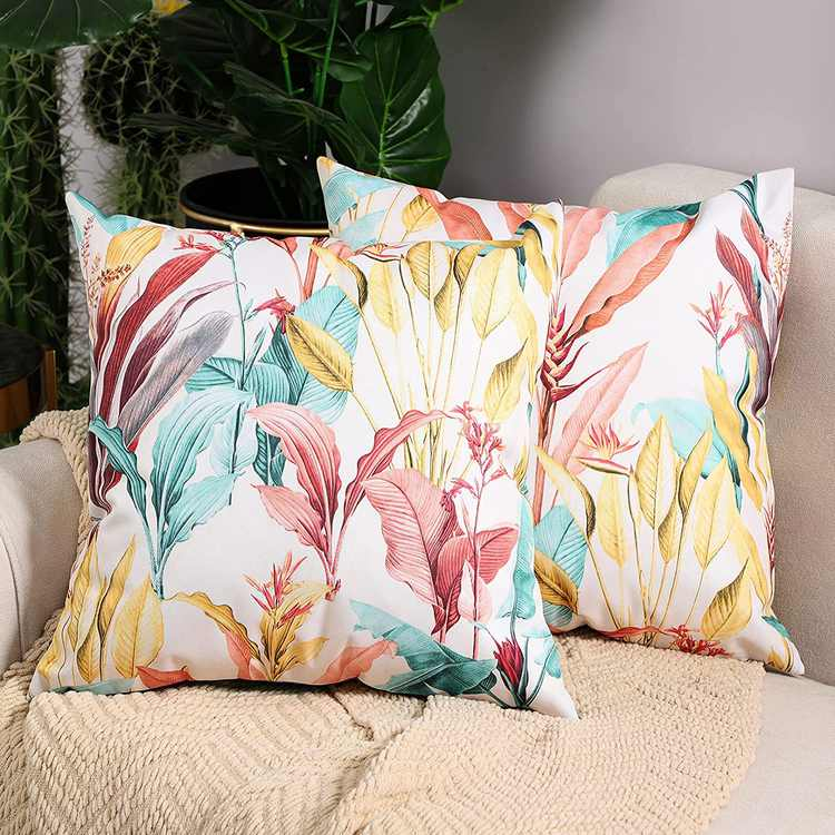 Btyrle Waterproof Cushion Covers with Digital Printing Decorative Throw Pillow Cover Soft Pillowcases with Invisible Zipper for Outdoor Sofa and Couch 45x45cm 18x18 Inch Pack of 2