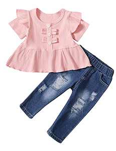 Toddler Girl Clothes Short Sleeve Toddler Outfit for Girls with Ripped Jeans (Pink,3-4 T)