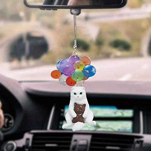 QWV Flying Cat Car Hanging Ornament with Colorful Balloon, Car Hanging Pendant Car Rearview Mirror Pendant Birthday Gift Auto Decoration Accessories Ornaments