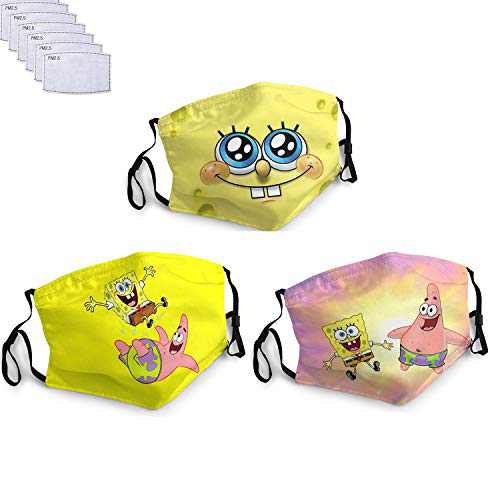 Face Mask 3PC Adjustable DustProof Face Cover Washable Reusable for Men Women breathable Bandanas Made in USA with 6 Filter-Sponge-BOb Square-Pants