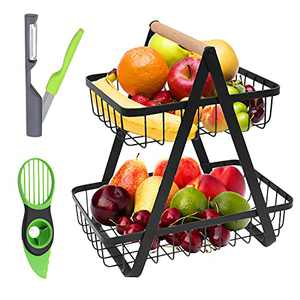 2-Tier Countertop Fruit Basket Fruit Bowl Stand for Counter Vegetable Holder Bread Basket for Kitchen Storage with Avocado Knife and Fruit Peeler