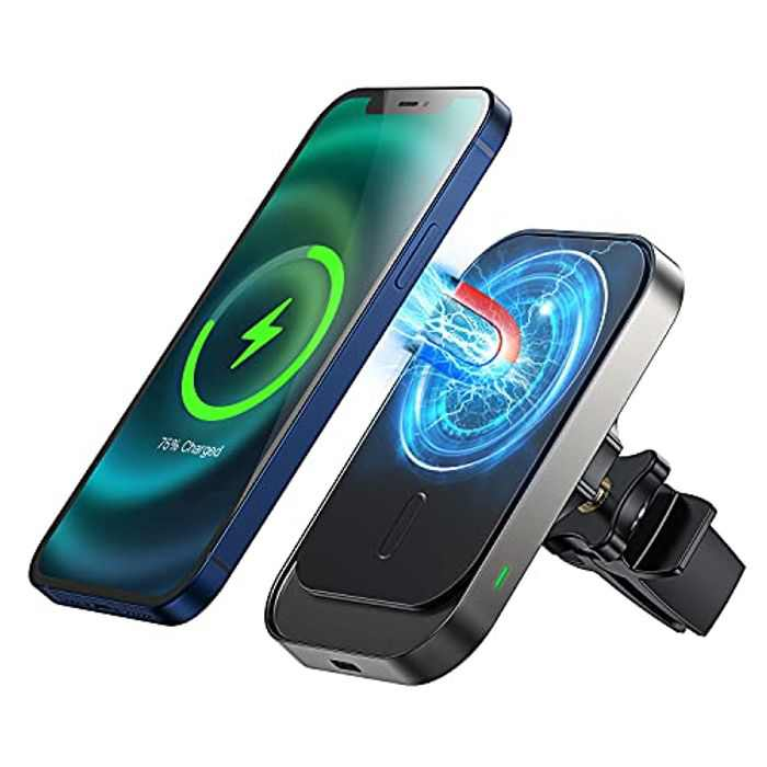 OMOTON Wireless Car Charger, 15W Fast Car Phone Holder Wireless Charger Compatible for iPhone 12/12 Pro/12 mini, Air Vent Mount Car Wireless Charger