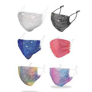 Black Face Mask Washable,Rhinestone Masks Reusable Mesh Mask,Fashion Sparkly Masquerade Mask for Women Men(6pcs-C)