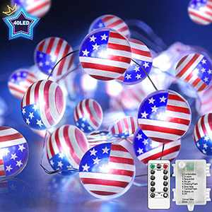 FastDeng Independence Day Patriotic Decor, American Flag String Lights for 4th of July, 10FT 40 LEDs, 8 Modes with Remote, Dimmable Star String Lights for Memorial Day Presidents Day