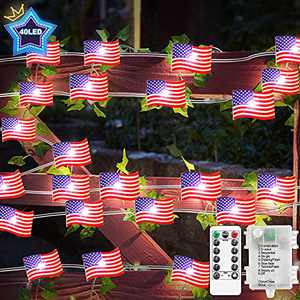 FastDeng 10ft American Flag Lights with Timer, 40 LEDs String Lights for 4th of July Independence Day Decor, Remote Control 8 Modes, Battery Operated, Dimmable for Patriotic Christmas Decoration