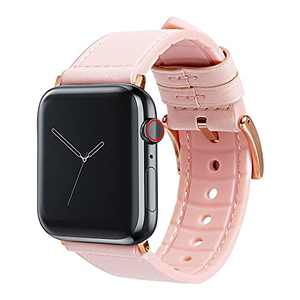 Vanzon Watch Band Compatible with Apple Watch Bands 38mm 40mm 42mm 44mm, Leather Smart Watch Band for Men Women iWatch SE Series 6 5 4 3 2 1 (Pink, 38mm/40mm)