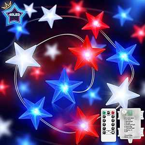 FastDeng 4th of July Decorations-Red White and Blue Lights for Independence Day, 3D Star String Lights, 10FT 40 LEDs 8 Modes with Timer, Waterproof, Battery Powered, Indoor/Outdoor Patriotic Decor