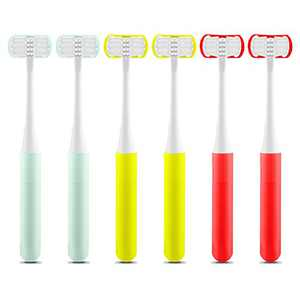 HSYTEK Kids 3 Sided Toothbrush, Manual 3-Sides Toothbrush Soft Gentle Clean Tooth for Special Needs Children, 6 Pack