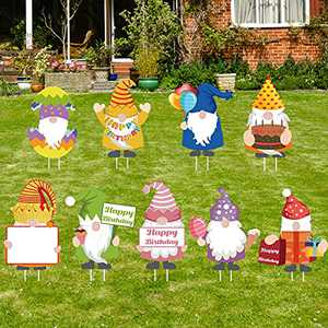 Crenics Happy Birthday Gnomes Yard Signs with Stakes, 9 Pack Colorful Personalized Bday Decorations for Lawn Backyard Outdoor Party Supplies