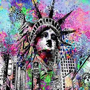 Creative Diamond Painting Kits for Adults, 5D Crystal Diamonds Art with Accessories Tools, Mountain Liberty City Corner Picture DIY Art Dotz Craft for Home Décor, Ideal Gift or Self Painting