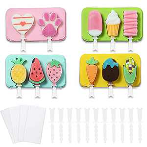 Popsicle Molds Silicone Ice Pop Molds Easy Release BPA Free Cute Homemade Ice Cream Mold Reusable Ice Pop Maker with Lid and Sticks for Kids.Color: Random Delivery (4 Pack)