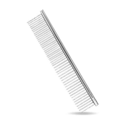 Maxshop Dog Comb with Different-Spaced Rounded Stainless Steel Teeth, Cat Comb for Removing Matted Fur, Professional Grooming Tool for Long and Short Haired Dog