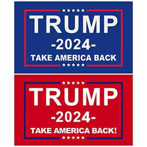 Donald Trump Flags 2024, Re-Elect Trump 2024 Flag, Take America Back Flag with Brass Grommets Patriotic Outdoor Indoor Decoration Banner, 3x5 ft, 2 Pack