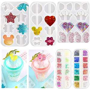 Straw Topper Resin Molds, 3 Pcs Straw Topper Attachment Silicone Molds with Crown, Diamond, Flower, Heart for Straws DIY Crafts Making, Epoxy Casting Mold Crystal with Butterfly for Cup Decoration