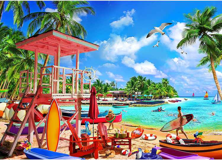 HUADADA Jigsaw Puzzles for Adults 1000 Piece Beach Holiday Puzzle for Adult Challenging Game