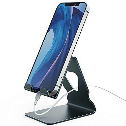Cell Phone Stand, Phone Dock, Cradle, Holder, Aluminum Desktop Cellphone Stand with Cable Collective for Office Desk, Bedside Table Compatible with iPhone 12 11 Pro Max-Grey