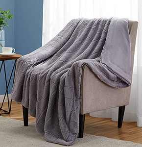 Monbix Throw Blankets Soft Fuzzy Warm, Fluffy Throw Blankets Couch Fleece, Throw Blankets Bed Cozy Machine Washable - Grey Plaid
