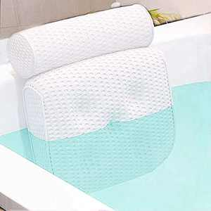 Bath Pillow for Hot Tub, FreshBasa Luxury SPA Pillow for Bathtub, Soft 4D Air Mesh Pillow Cushion Head, Neck, Shoulder and Back Support Rest with 7 Non-Slip Strong Suction Cups for Home SPA