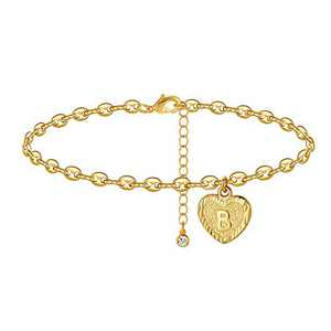 Howoo Gold Initial Anklet Letter Ankle Bracelets for Women B Alphabet Foot Chain for Women