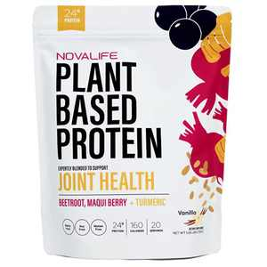 NovaLife Organic Joint Health Vanilla Plant Protein Powder, 1.65 Pounds, 20 Servings, 24g Protein, Turmeric, Low Carb, Keto Friendly, Soy Free, Dairy Free, Non-GMO, Gluten Free, No Sugar Added