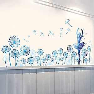 Supzone Blue Dandelion Girl Wall Stickers Star Flowers Fairy Wall Decal Removable Art Decor for Girls Baby Nursery Adult Bedroom Living Room Sofa Backdrop TV Wall Decoration
