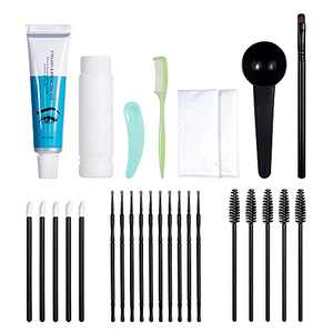 Lakerain Black Eyelashes Eyebrow Beard Mustache Hair Dye Paste Tint Kit Professional Permanent Mascara Color Brow & Lashes Dye Comb Brush Set