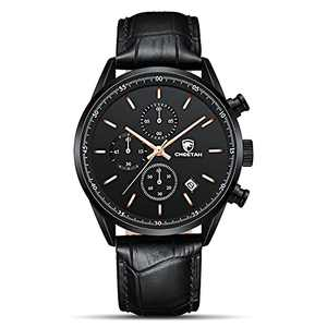 CHEETAH Fashion Watches for Men with Black Leather Strap 3ATM Waterproof Chronograph Quartz Watch with Black Face Rose Gold Needle