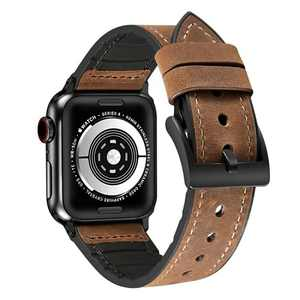 Vanzon Watch Band Compatible with Apple Watch Bands 38mm 40mm 42mm 44mm, Leather Smart Watch Band for Men Women iWatch SE Series 6 5 4 3 2 1 (Black, 42mm/44mm)