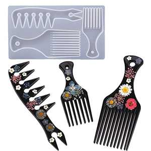 Resin Comb Molds Silicone 3in1 Hair Pick Comb Silicone Mold Salon Barbers Afro Hair Comb Mold for Resin Casting Slicked Epoxy Resin Jewelry Keychain Comb Mould Hair Styling Cutting DIY Crafts Making