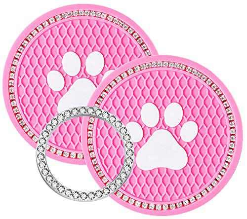 aurrako Car Coaster ,Bling Car Accessories for Women(3Pcs/Set), Universal 2.75 inch Silicone Anti Slip Crystal Rhinestone Car Cup Holder Coasters (Pink paw)